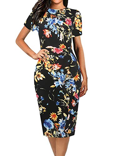 oxiuly Women's Casual Floral Flare Short Sleeve Round Neck Work Business Pencil Bodycon Midi Dress OX055 (S, Black Flower)
