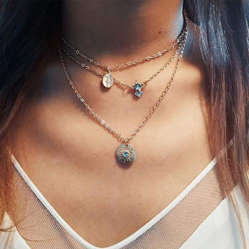 Anglacesmade Bohemia Layered Choker Necklace Gold Coin Necklace Gemstone Necklace Sun Necklace Crysal Saint Mary Coin Charm Pendant Necklace for Women and Girls