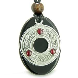 Amulet Celtic Triquetra Protection Knot Black Agate Pendant Necklace