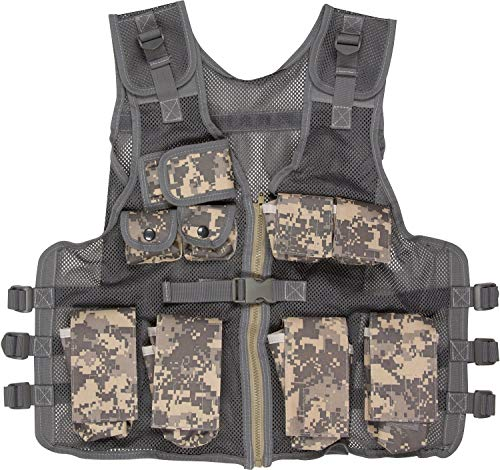 Explorer Kids Tactical Vest ACU Digital Camo 9 Pockets Adjustable Army Military PlayKids Army Camo Combat Vest Black&US Woodland camo Vest Durable Breathable Tactical Vest 9pockets Fits Ages 5-17 Y ()