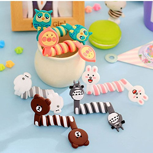 6PCS CiCy Animal Cartoon Appearance Cute Frog Pink Rabbit Cat Bears bird Cable Tie Cord Organizer Headset Headphone Earphone Wrap Winder/ Fixer Holder/cord Manager/cable Winder