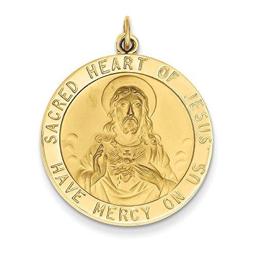 Or 14ct Sacré Cœur de Jésus Médaille Pendentif-Dimensions 25x 25x 25mm