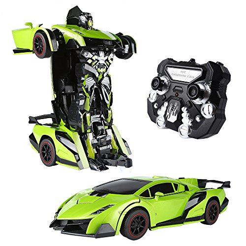 SainSmart Jr. Transform Car Robot, Electronic Remote Control RC Vehicles with One Button Tranforming and Realistic Engine Sound, Christmas Gift for Kids(Green)