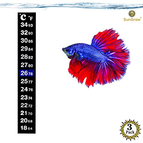 SunGrow 3 Betta Sticker Thermometers - Ensure Optimum Comfort Around 78 Degrees - Accurately Measures Temperature - Large Font for Quick Reading - Keep Fish Healthy - 1 Minute to Set-up
