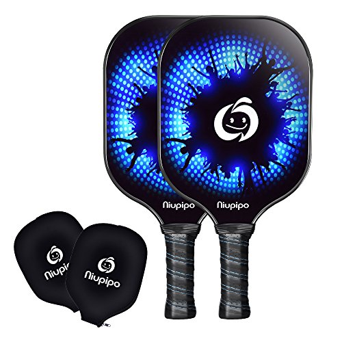 Pickleball Paddles - 2 Pickleball Paddles Set Lightweight 8oz Graphite Pickleball Rackets Honeycomb Composite Core Pickleball Racquet Edge Guard Ultra Cushion Grip Pickleball Paddles With Cover by Niupipo