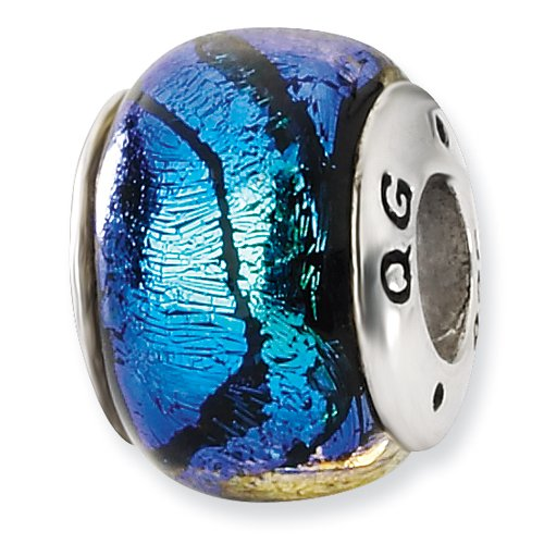 Blue Dichroic Glass and .925 Sterling Silver Bead