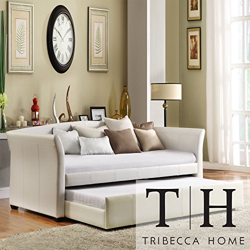 Metro Shop TRIBECCA HOME Deco White Faux Leather Modern Daybed with Trundle