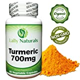 Certified Organic Turmeric Curcumin Supplement - 700 mg - Non-GMO - Curcuminoids with Black Pepper Peperine for Best Absorption - Antioxidant - Joint Pain - Inflammation Relief - 60 Veggie Capsules