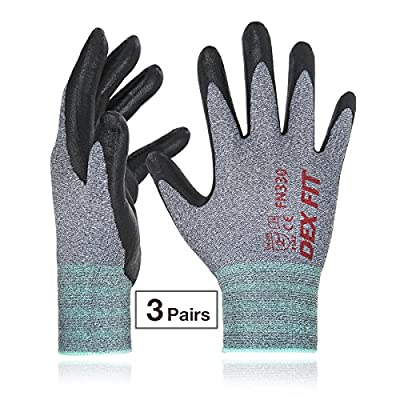 Nitrile Work Gloves FN330, 3D Comfortable Stretchy-Fit, Power Grip, Safe Breathable Durable Water Based Foam, Machine Washable Thin Nylon, 3 Pairs Pack, X-Small, Grey
