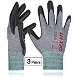 Work Gloves FN330, Durable Water Based Nitrile, 3D Comfort Power Grip, Thin Stretchy-Fit Nylon Spandex, Cool Breathable Foam, Machine Washable, 3 Pairs Pack, Medium, Grey
