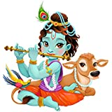 Decals Design Lord Krishna With Flute Cute For Kids Room PVC Vinyl 50X70Cm Multicolor