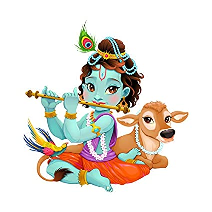 Image of: Lord Krishna Decals Design lord Krishna With Flute Cute Wall Sticker pvc Vinyl 50 Cm 70 Cm Multicolour Amazonin Home Kitchen Bhakti Photos Decals Design lord Krishna With Flute Cute Wall Sticker pvc Vinyl