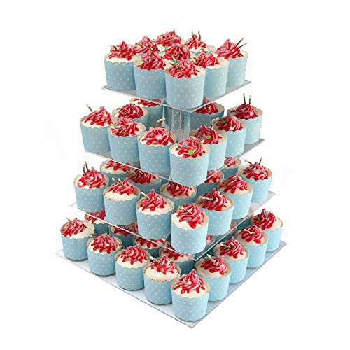 GFCC 4 Tier Cupcake Stand Square Acrylic Stacked Cupcake Display Stand Cupcake Holder Tower Dessert Stand Tea Party Serving Platter for Wedding Party Birthday Decoration -