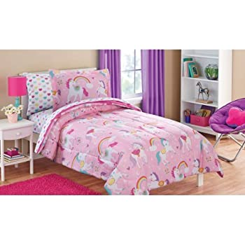 Rainbows Unicorns Girls Full Comforter Set 8 Piece Bed In A Bag Home Kitchen