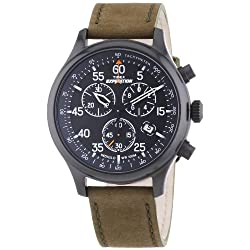 Timex Unisex T499389J Expedition Rugged Field Chronograph Watch with Leather Strap