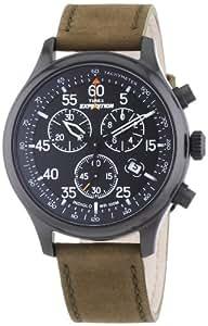 Timex T49938D7 - Reloj cronógrafo de cuarzo para hombre con correa de piel, color verde