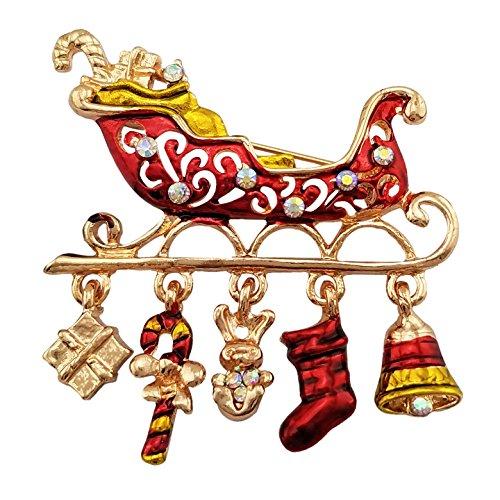 SELOVO Santa Sleigh Boots Christmas Brooch Pin Gold Tone