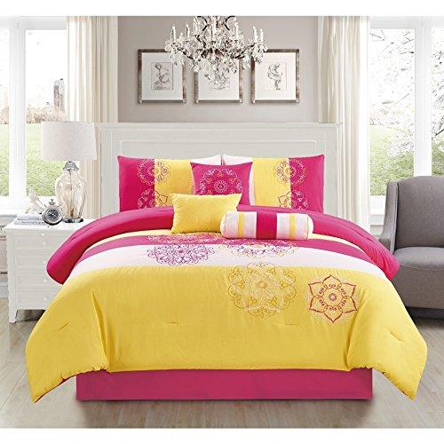 Elight Home Carlotta Yellow Embroidery 7-piece Comforter Set Queen ()