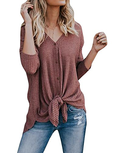 Knit Distressed (FISACE Womens Henley Shirts V Neck Button Down Solid Long Sleeve Loose Casual Knit Sweaters Tops Blouse (XX-Large, Red))