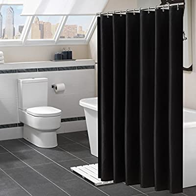 """Avershine Shower Curtain Polyester Fabric Washable (Black 72x80) - The fabric does not fade, perfectly weighted, very durable and easy care, use wet cloth and mild detergent to wipe off the dirt or machine wash directly. 72"""" x 72"""" (180 x 180 cm)/ 72"""" W x 80"""" L( 180W x 200L cm) for multiple choices; 12 Rust Proof Metal Grommets; Package include 1 x shower curtain and 13 x plastic curtain hooks We offer you high quality products with so favorable price and best service . Items can be returned within 31 days of receipt of shipment if you are not satisfied for any reason - shower-curtains, bathroom-linens, bathroom - 51FYNex5QUL. SS400  -"""
