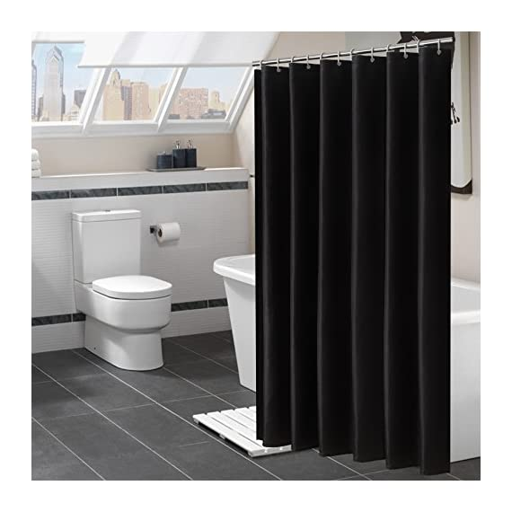 """Avershine Shower Curtain Polyester Fabric Washable (Black 72x80) - The fabric does not fade, perfectly weighted, very durable and easy care, use wet cloth and mild detergent to wipe off the dirt or machine wash directly. 72"""" x 72"""" (180 x 180 cm)/ 72"""" W x 80"""" L( 180W x 200L cm) for multiple choices; 12 Rust Proof Metal Grommets; Package include 1 x shower curtain and 13 x plastic curtain hooks We offer you high quality products with so favorable price and best service . Items can be returned within 31 days of receipt of shipment if you are not satisfied for any reason - shower-curtains, bathroom-linens, bathroom - 51FYNex5QUL. SS570  -"""