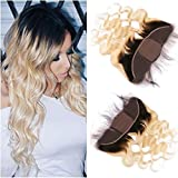 Tony Beauty Hair Blonde Ombre Frontal Closure With 4x4 Silk Base Two Tone 1B/613 Ombre Brazilian Hair Body Wave Silk Top 13x4 Full Lace Closure Bleached Knots (16inch)