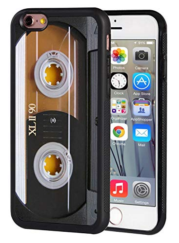 iPhone 6 Case,iPhone 6S Case,Vintage 80s Music Cassette Design Slim Impact Resistant Shock-Absorption Rubber Protective Case Cover for Apple iPhone 6/iPhone 6S 4.7 inch