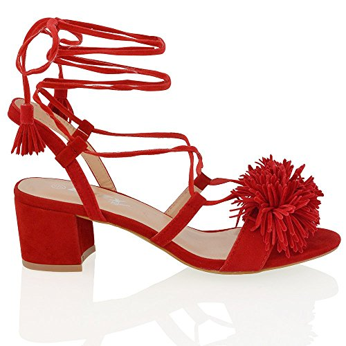 Essex Glam womens block heel faux suede tie up fringe low heel sandal shoes Red Faux Suede YgnifoVPv