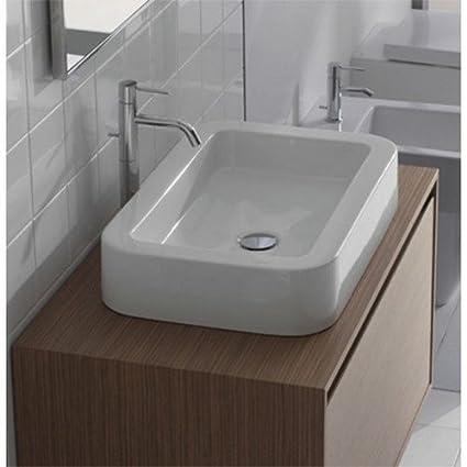 Ceramica Globo Serie Stone.Lavabo Da Appoggio Ceramica Globo Stone 60x40 Ss060 Bi Amazon It