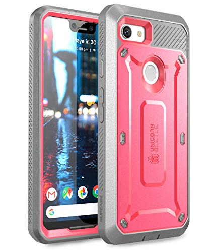 SUPCASE Full-Body Rugged Holster Case for Google Pixel 3 XL, with Built-in Screen Protector for Google Pixel 3 XL 2018 Release, Unicorn Beetle PRO Series - Retail Package (Pink)