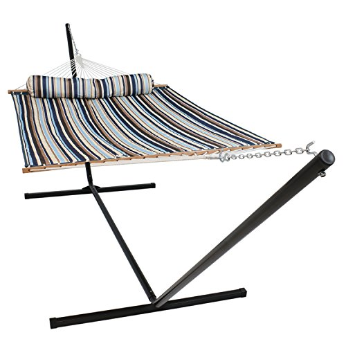 - Sunnydaze Quilted Fabric Hammock Two Person with 15-Foot Stand and Spreader Bars, Freestanding Outdoor Heavy Duty 400 Pound Capacity, Ocean Isle