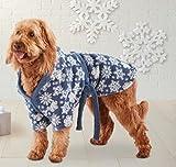 Dog Pet Bathrobe Bodysuit blue snowflake XL (X-Large)