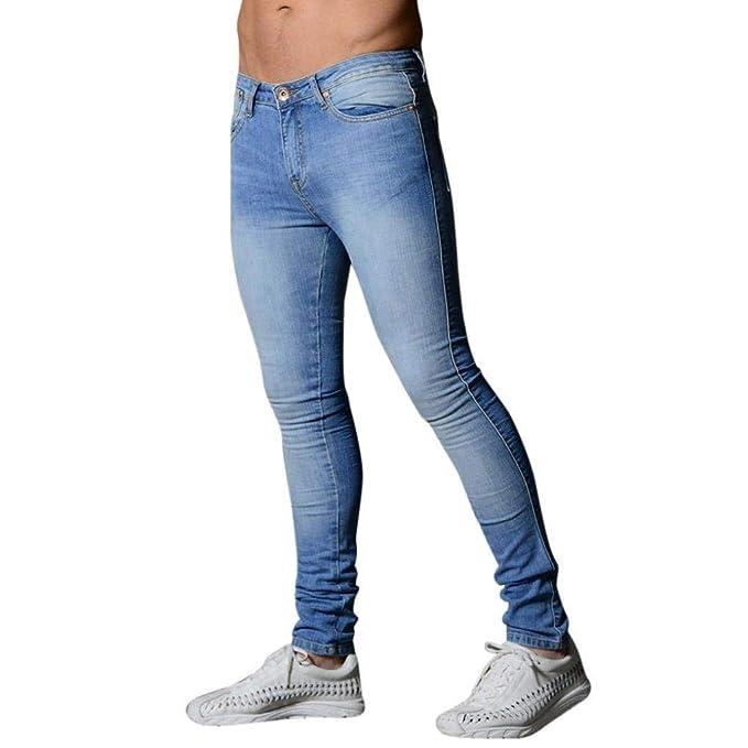 Battercake Denim Jeans Pantalones De Corte Slim para Hombres Pantalones De Mezclilla Skinny Cómodo Biker Pantalones De Entrenamiento De Color Sólido Glich ...