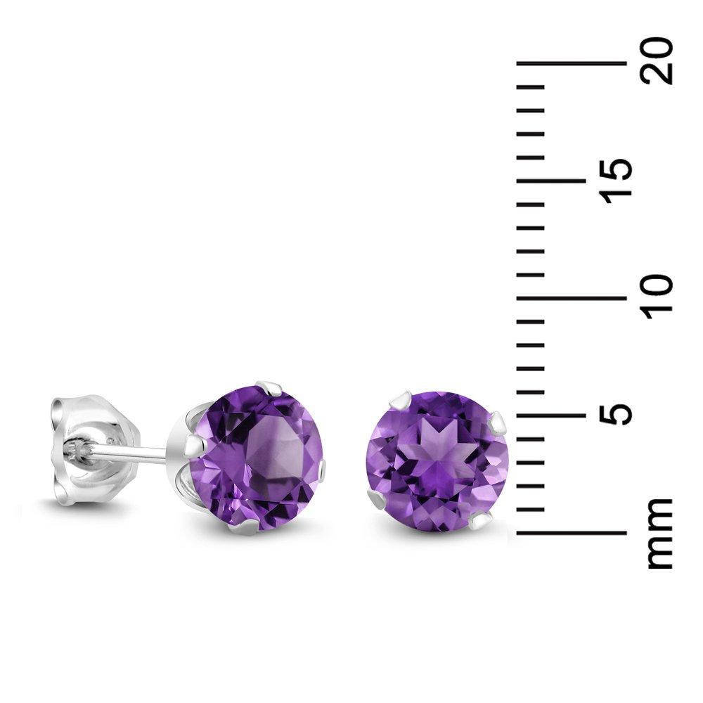 Amazon.com: Sterling Silver Round Purple Amethyst Women's Stud Earrings 6mm  1.50 Carat Total Weight: Stud Earrings: Jewelry
