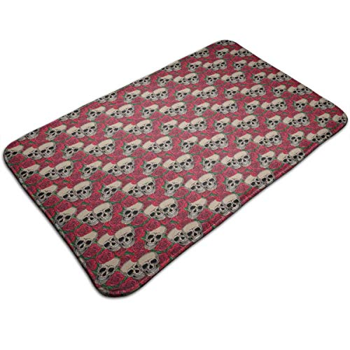 Memory Foam Bath Mat Non Slip Absorbent Super Extra Soft Cozy Bathroom Rug Carpet (20 X 32) Inch,Graphic Skulls and Red Rose Blossoms Halloween Inspired Retro Gothic -