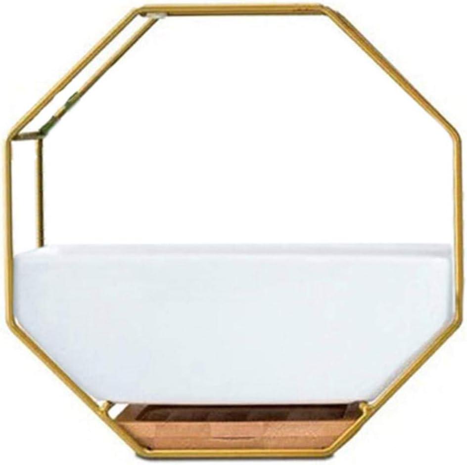 AOM Minimalista Octogonal Geométrica Mesa Colgante de Pared Suculentas Maceta de cerámica Bandeja de bambú Conjunto de Marco de Hierro Manualidades Regalos Oro + Whi, Oro, S: Amazon.es: Jardín