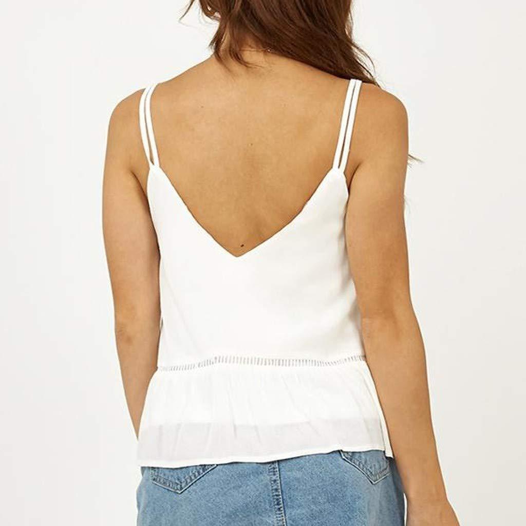 Damen Spitze Loose Weste,LeeMon Mode Frauen V-Ausschnitt Weste /ärmelloses Bind Shirt Bluse l/ässig Tank Tops