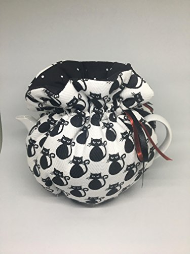 Bewitched black and white cat print reversible to black white polka dot cotton Wrap style tea cozy cosy Reversible brown betty Med 4-6cup