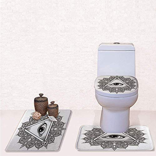 Print 3 Pcss Bathroom Rug Set Contour Mat Toilet Seat Cover,Vintage All Seeing Eye Tattoo Symbol with Boho Mandala Providence Spirit Occultism with Black White,decorate bathroom,entrance door,kitch