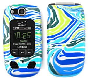 For Samsung Convoy 2 U660 Case Cover - Blue Green Zebra Print Rubberized TE148-S by runtopwell