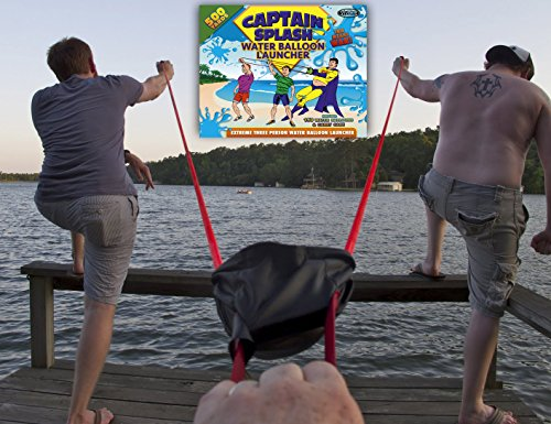 Water Balloon Launcher 500 Yards by Captain Splash, 3 Person Slingshot Cannon Catapult, 150 FREE Water Balloons & Carry Case Included (Blue, Extra Strong Latex Sling) 2019 Edition. Outdoor Games by Vivorr (Image #5)