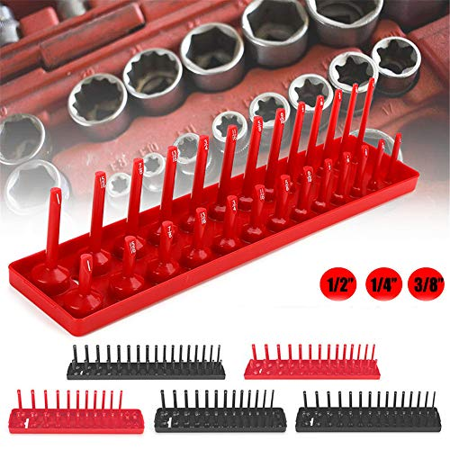 TANCHEN Socket Organizer Trays - 6PCS Socket Tray Set Black SAE & Red Metric, 1/4-Inch, 3/8-Inch & 1/2-Inch Drive Socket Holder by TANCHEN (Image #1)