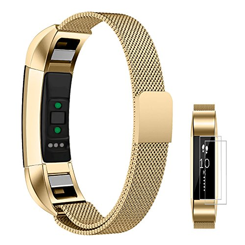 UMTELE Bands for Fitbit Alta/Alta HR, Milanese Stainless Steel Replacement Metal Band for Men & Women Small Gold