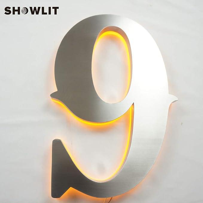 Amazon.com: SHOWLIT - Números de casa iluminados de acero ...