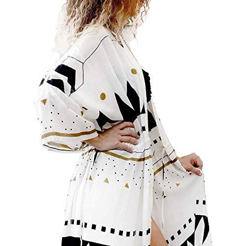 Women's Summer Blouse Loose Kimono Floral Print Cardigan Chiffon Beachwear Dress (RM-7)