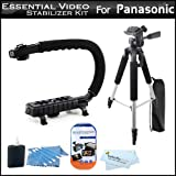 Essential Video Stabilizer Kit For Panasonic HDC-SD40K HD Camcorder Includes AXIS-G Camcorder Action Stabilizing Handle + 57'' Full Tripod w/Case + LCD Screen Protectors + 3pc Cleaning KIt + MicroFiber Cloth