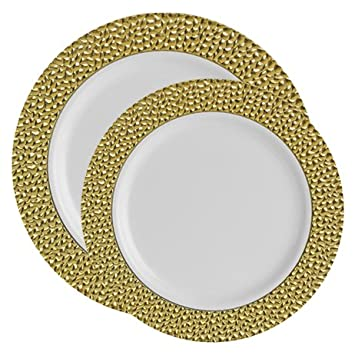 Posh Party Supplies | Upscale White and Gold Hammered Trim Plastic Plate Combo for 20 Settings  sc 1 st  Amazon.com & Amazon.com: Posh Party Supplies | Upscale White and Gold Hammered ...