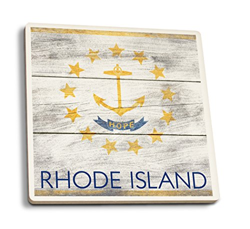 Rhode Island State Flag (Set of 4 Ceramic Coasters - Cork-Backed, Absorbent) ()