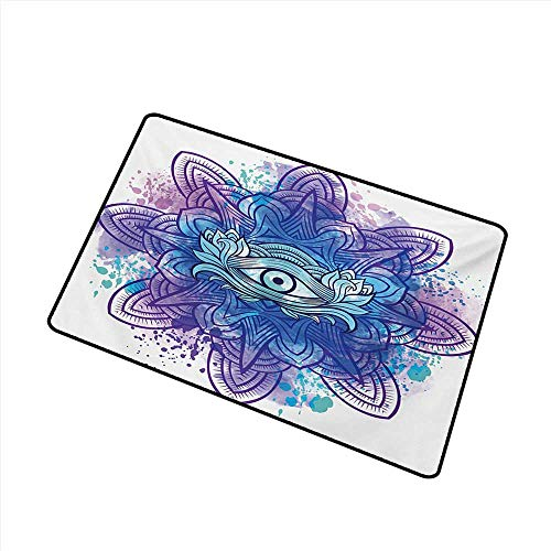 (Outdoor Doormat Eye Third Eye with Hand Drawn Mandala Vivid Colors Aura Inner Peace Awareness Chakra W24 xL35 Breathability)