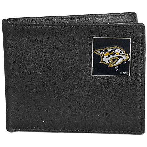 (NHL Nashville Predators Leather Bi-Fold Wallet Packaged in Gift Box, Black)
